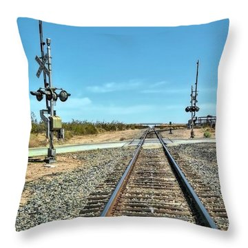 Desert Railway Crossing Throw Pillow