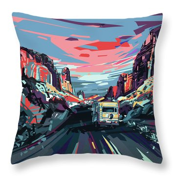 Desert Road Landscape Throw Pillow by Bekim Art