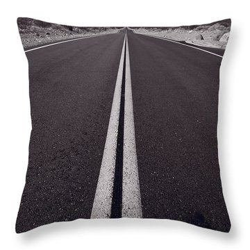 Desert Road Trip B W Throw Pillow