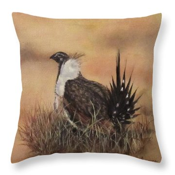 Desert Sage Grouse Throw Pillow