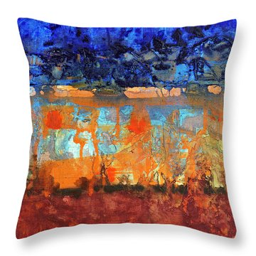 Throw Pillow featuring the painting Desert Strata by Walter Fahmy