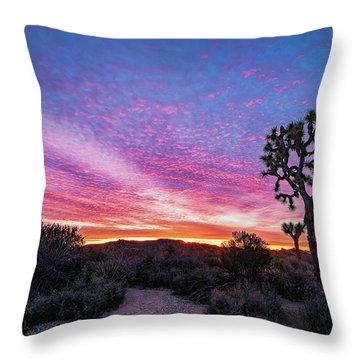 Desert Sunrise At Joshua Tree Throw Pillow
