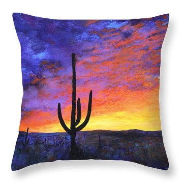 Throw Pillow featuring the painting Desert Sunset 4 by M Diane Bonaparte
