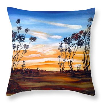 Throw Pillow featuring the painting Desert Sunset by Roberto Gagliardi