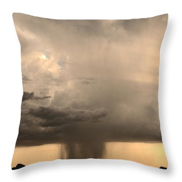 Desert Thunderstorm Throw Pillow