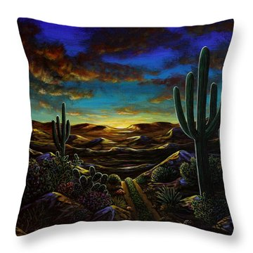 Throw Pillow featuring the painting Desert Trail by Lance Headlee