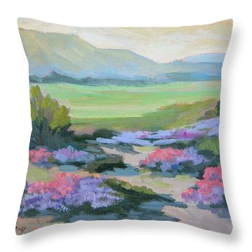 Throw Pillow featuring the painting Desert Verbena 1 by Diane McClary