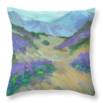 Throw Pillow featuring the painting Desert Verbena by Diane McClary