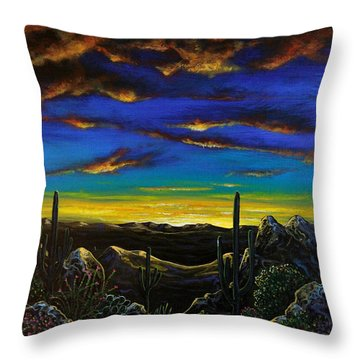 Throw Pillow featuring the painting Desert View by Lance Headlee