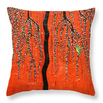 Throw Pillow featuring the mixed media Desert Willow by Natalie Briney
