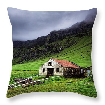 Deserted Barn In Iceland Throw Pillow