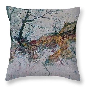 Throw Pillow featuring the painting Deserted Clearing by Carolyn Rosenberger