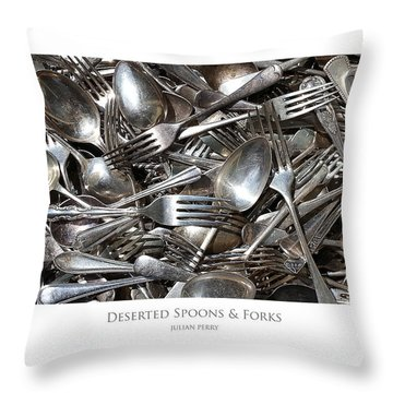 Throw Pillow featuring the digital art Deserted Spoons And Forkes by Julian Perry