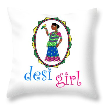 Desi Girl Throw Pillow