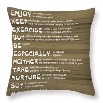 Desiderata 17 Throw Pillow