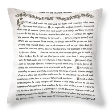 Desiderata 3 Throw Pillow by Desiderata Gallery