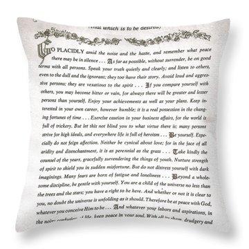 Desiderata 3 Throw Pillow by Desiderata Gallery