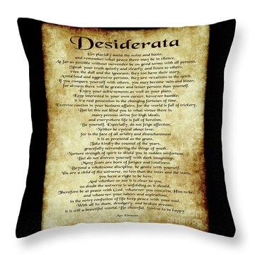 Desiderata - Antique Parchment Throw Pillow