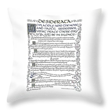 Desiderata-blue Throw Pillow