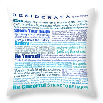Desiderata - Blues - Square Format Throw Pillow by Ginny Gaura