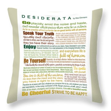Desiderata - Earthtones - Rectagular Format Throw Pillow by Ginny Gaura