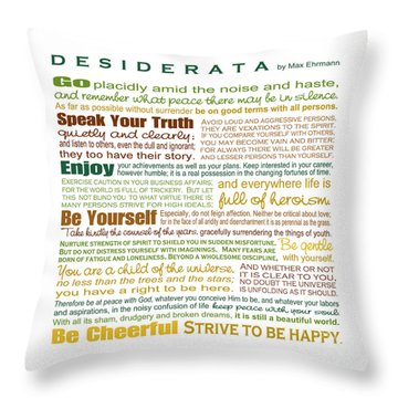 Desiderata - Earthtones - Square Format Throw Pillow by Ginny Gaura