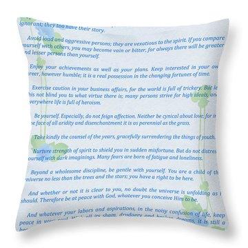 Desiderata In Blue Throw Pillow by Olga Hamilton
