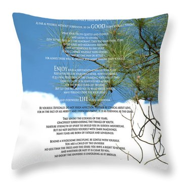 Desiderata Poem Over Sky With Clouds And Tree Branches Throw Pillow