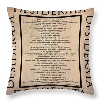 Desiderata - Spanish- Poema Escrito Por Max Ehrmann Throw Pillow