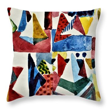 Throw Pillow featuring the painting Designs For Pyramids by Mindy Newman