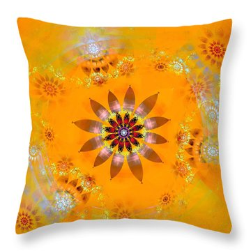 Throw Pillow featuring the digital art Designs On Gold by Richard Ortolano
