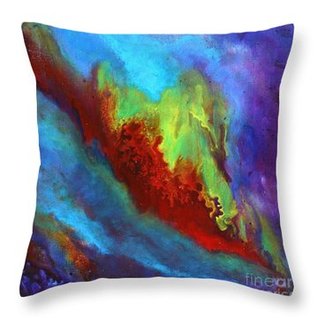 Desire A Vibrant Colorful Abstract Painting With A Glittering Center  Throw Pillow