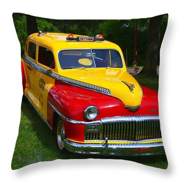 Desoto Skyview Taxi Throw Pillow by Garry Gay