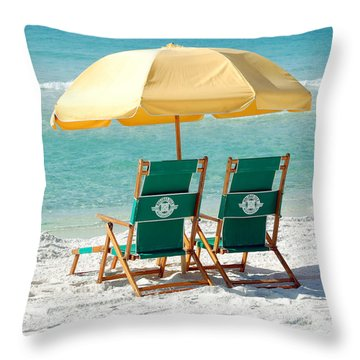 Destin Florida Beach Chairs And Yellow Umbrella Square Format Throw Pillow