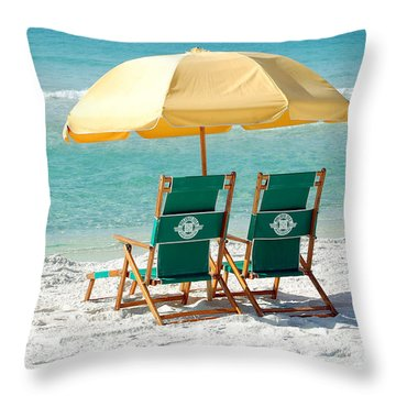 Destin Florida Beach Chairs Umbrella And Blue Waters Throw Pillow
