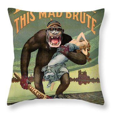 Destroy This Mad Brute - Restored Vintage Poster Throw Pillow