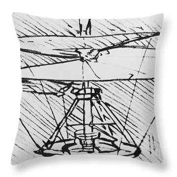 Detail Of A Design For A Flying Machine Throw Pillow