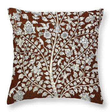 Detail Of A Vintage Botanical Pattern Throw Pillow