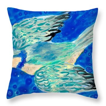 Detail Of Bird People Flying Bluetit Or Chickadee Throw Pillow by Sushila Burgess
