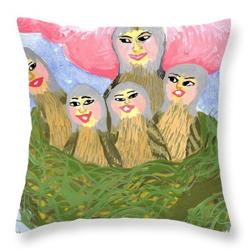 Detail Of Bird People The Chaffinch Family Nest Throw Pillow by Sushila Burgess