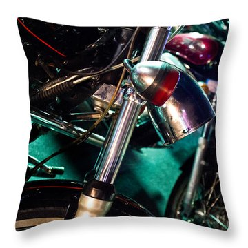 Detail Of Chrome Headlamp On Vintage Style Motorcycle Throw Pillow