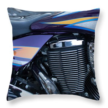 Detail Of Shiny Chrome Cylinder And Engine On Cruiser Motorcycle Throw Pillow