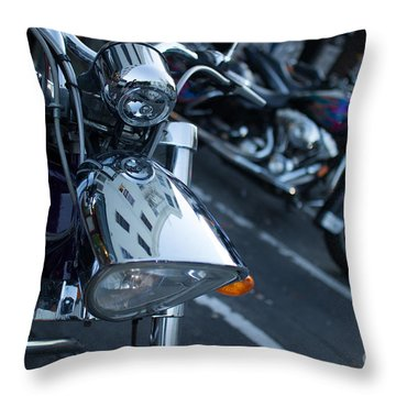 Detail Of Shiny Chrome Headlight On Cruiser Style Motorcycle Throw Pillow