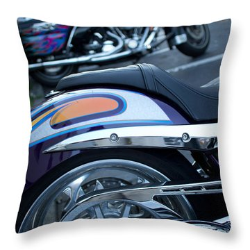 Throw Pillow featuring the photograph Detail Of Shiny Chrome Tailpipe And Rear Wheel Of Cruiser Style  by Jason Rosette