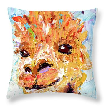 Detail Of Shorn Alpaca. Where's My Fleece? Throw Pillow by Lynda Cookson