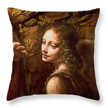 Detail Of The Angel From The Virgin Of The Rocks  Throw Pillow by Leonardo Da Vinci