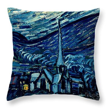 Detail Of The Starry Night Throw Pillow by Vincent Van Gogh