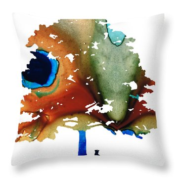 Determination - Colorful Cat Art Painting Throw Pillow by Sharon Cummings