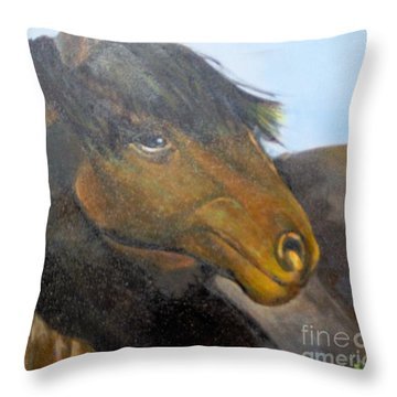 Throw Pillow featuring the painting Determination by Saundra Johnson