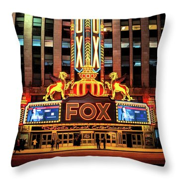 Detroit Fox Theatre Marquee Throw Pillow